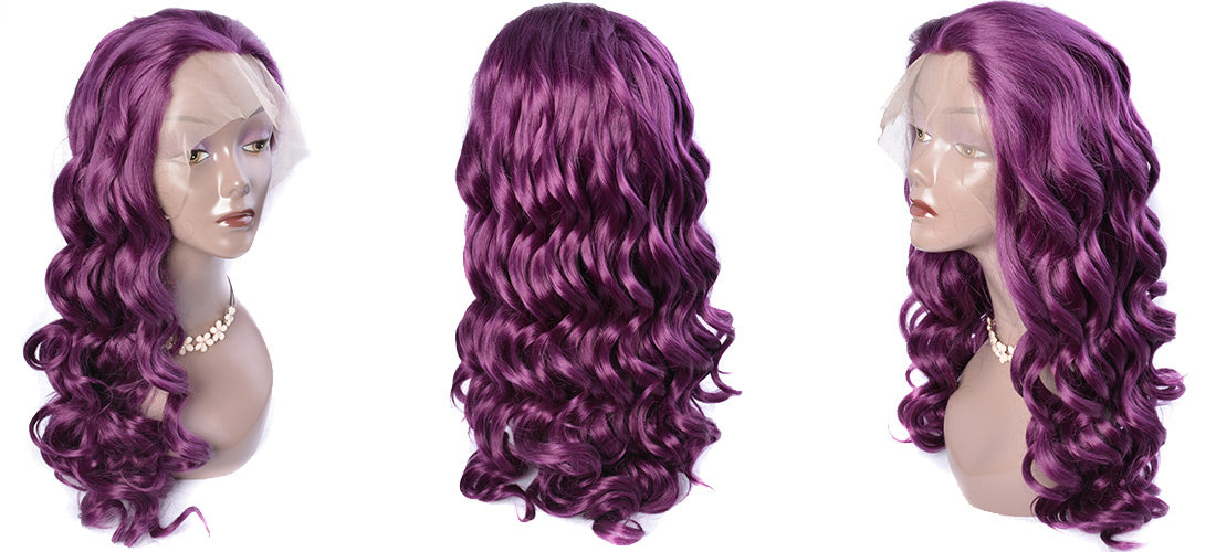 synthetic lace wigs purple color loose wave wigs side show in description