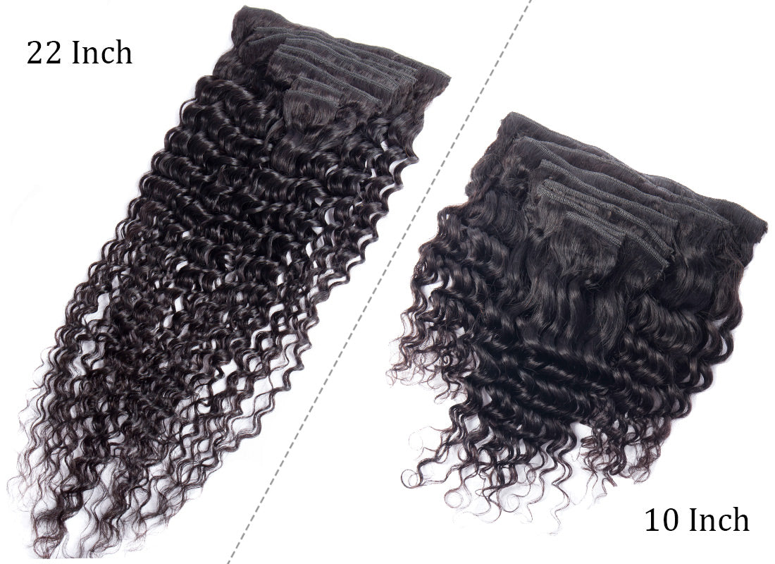ms curly human hair clip in hair extensions 10-22 inch weft in description