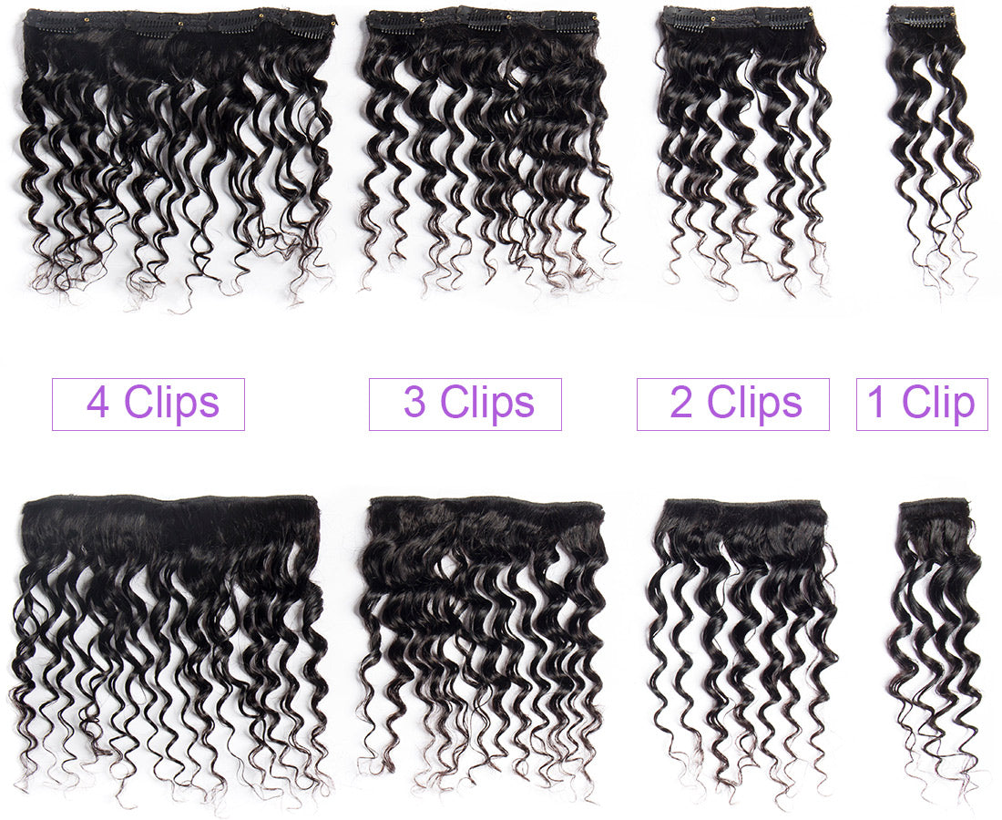 ms curly human hair clip in hair extensions set in description