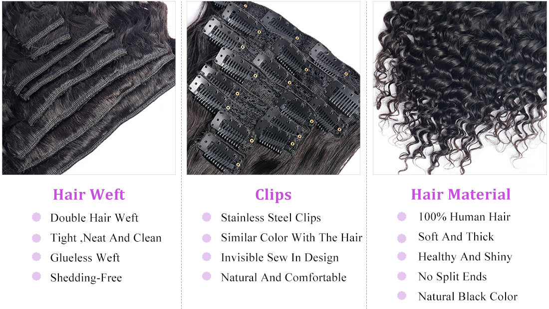 ms curly human hair clip in hair extensions details in description