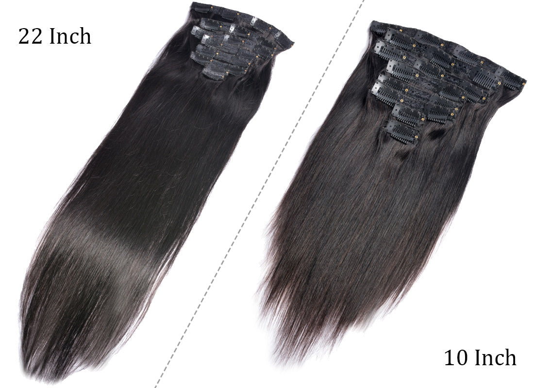 MS hair straight clips in human hair extensions 10-22 inch show clips in description