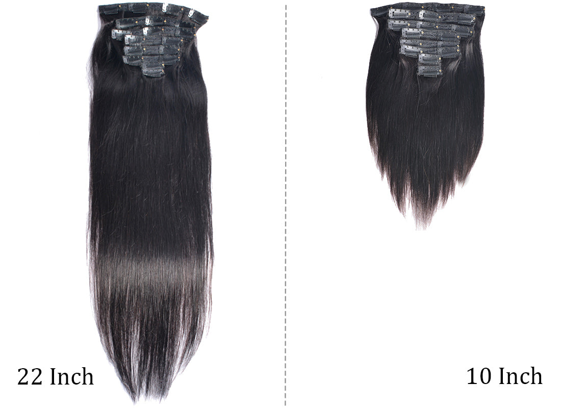 MS hair straight clips in human hair extensions 10-22 inch compare show in description