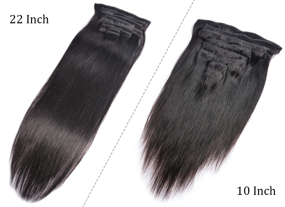 MS hair straight clips in human hair extensions 10-22 inch show in description