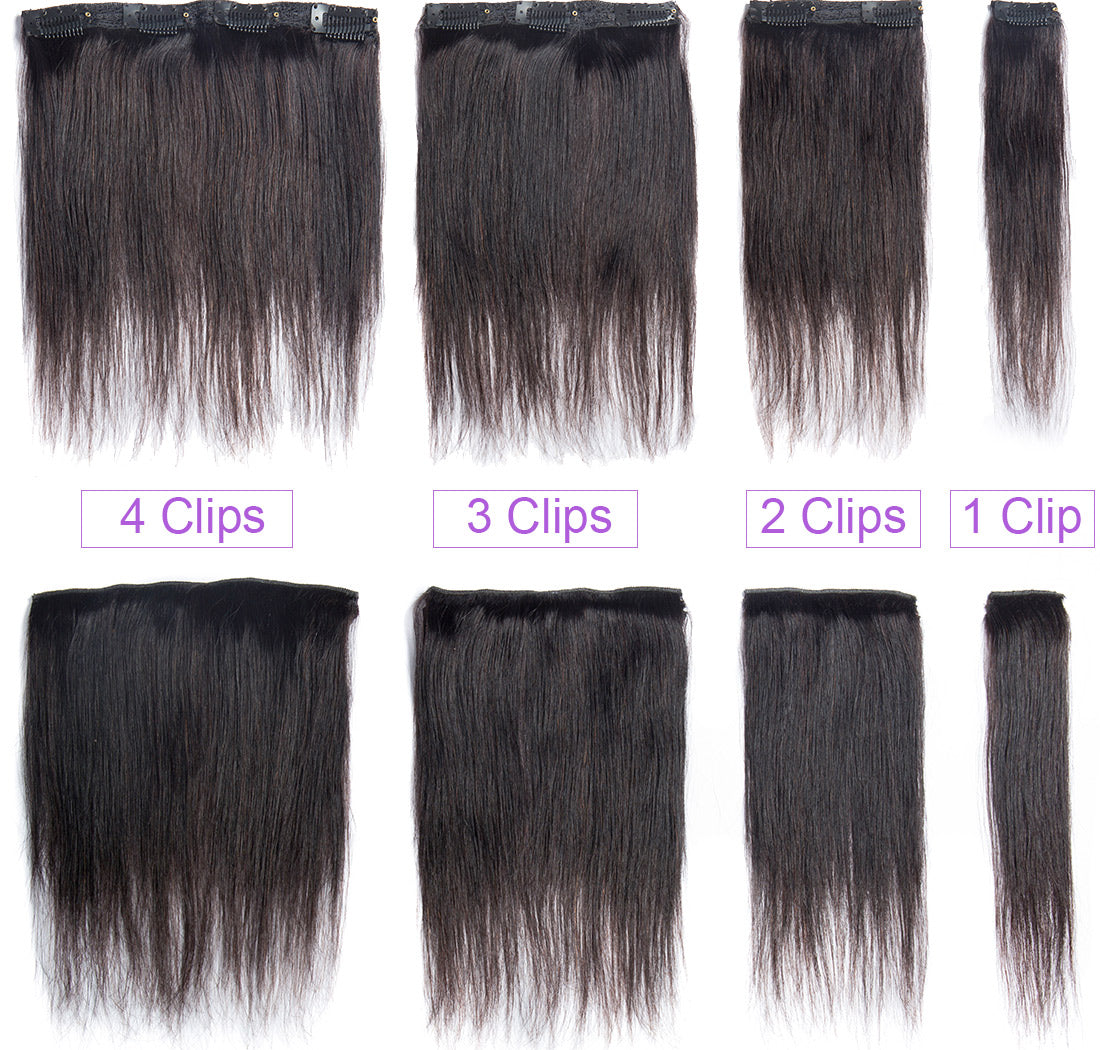 MS hair straight clips in human hair extensions 10-22 inch set show in description