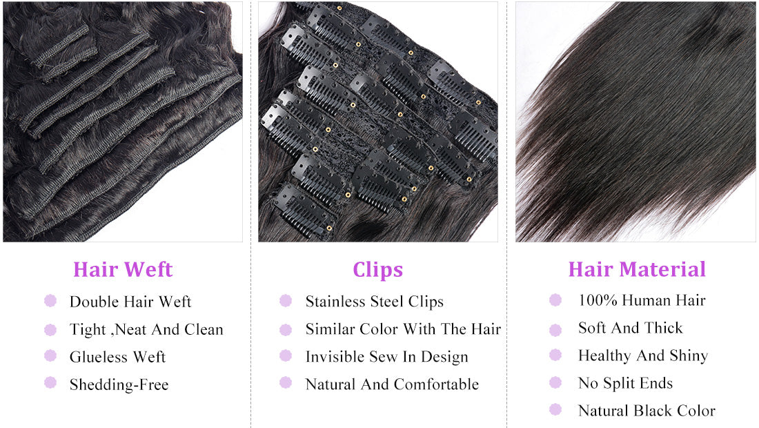 MS hair straight clips in human hair extensions 10-22 inch details show in description