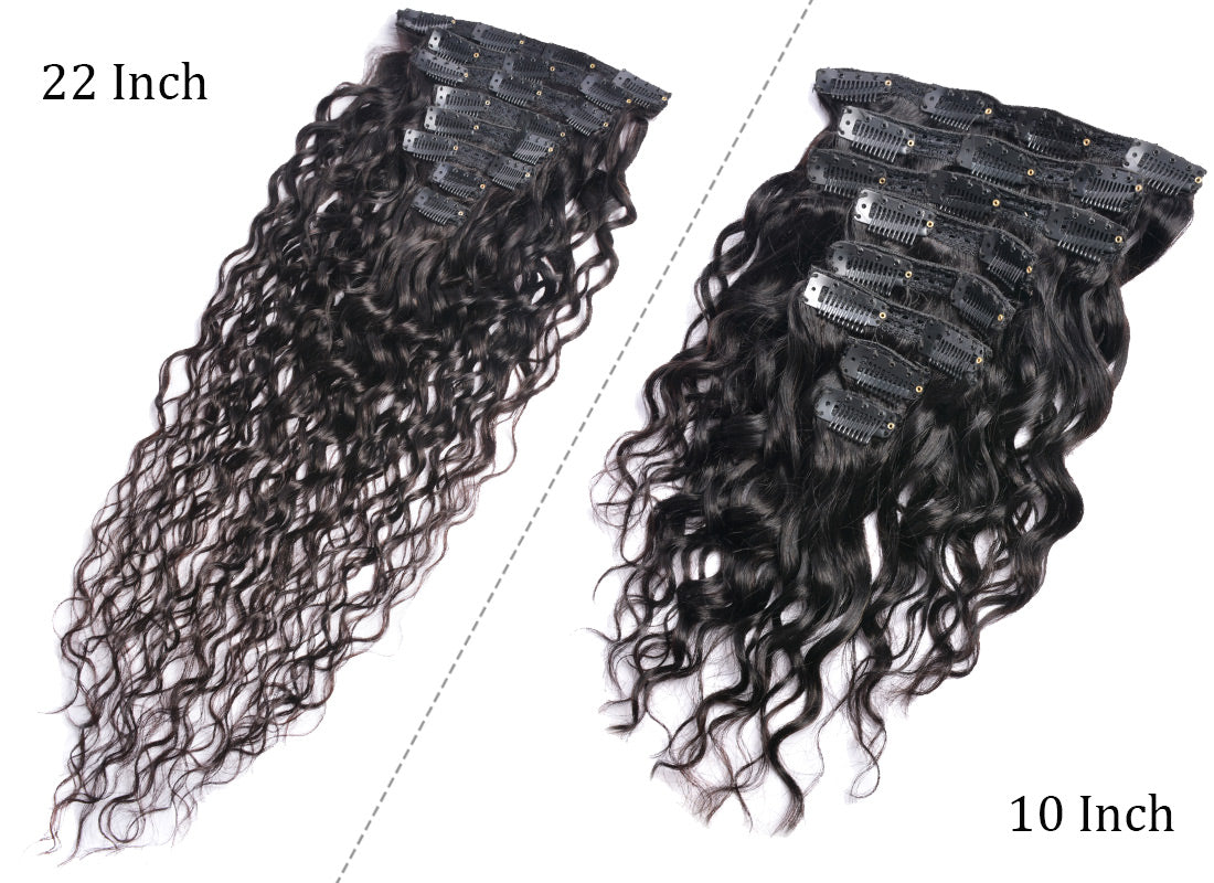 ms water wave human hair clips in hair extensions 10 inch and 22 inch clips in description