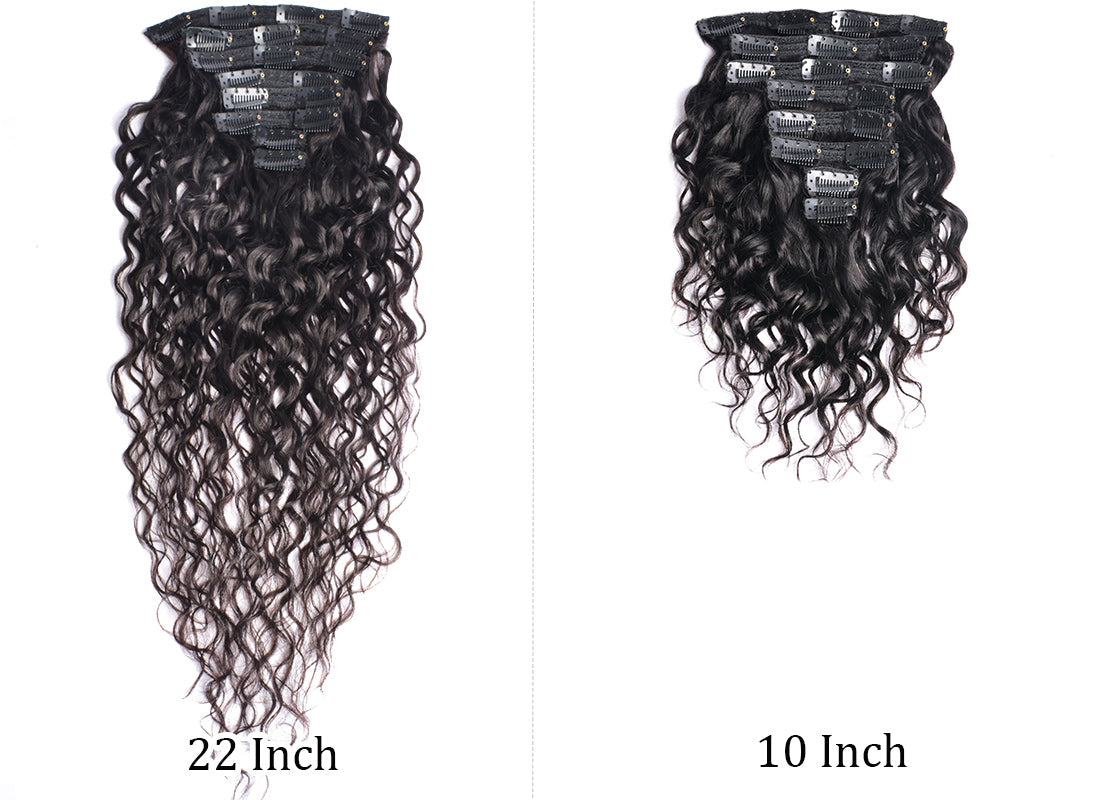 ms water wave human hair clips in hair extensions 10 inch and 22 inch in description