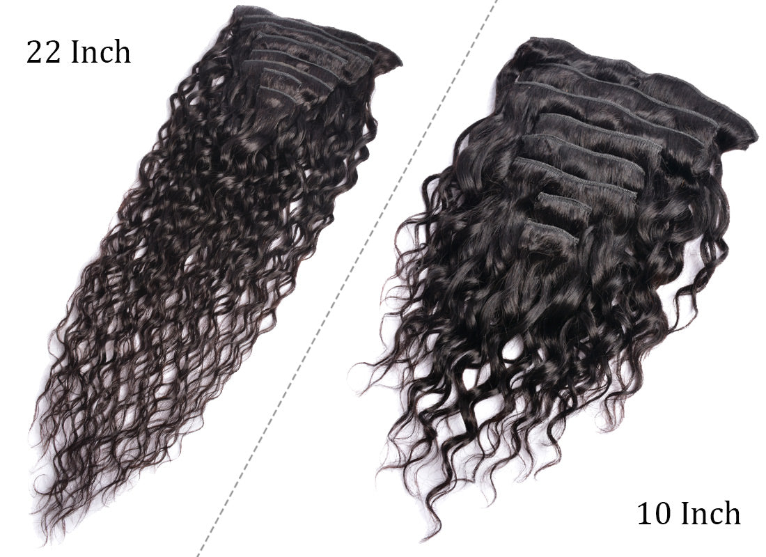 ms water wave human hair clips in hair extensions 10 inch and 22 inch weft in description