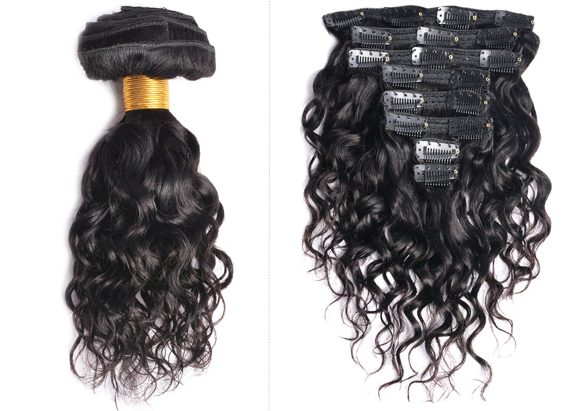 ms water wave human hair clips in hair extensions 10 inch in description