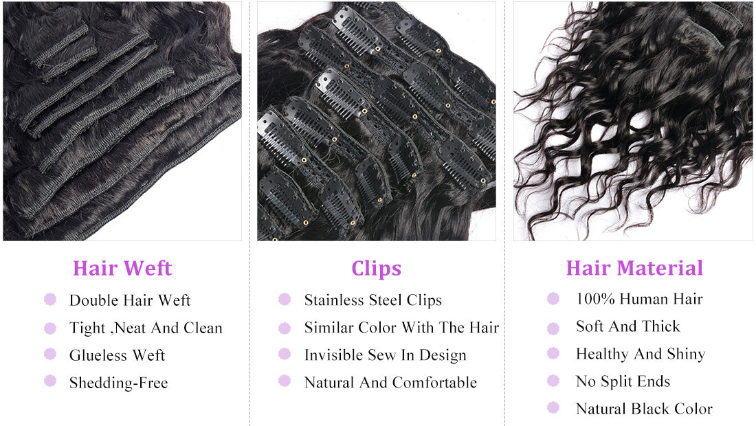 ms water wave human hair clips in hair extensions details in description