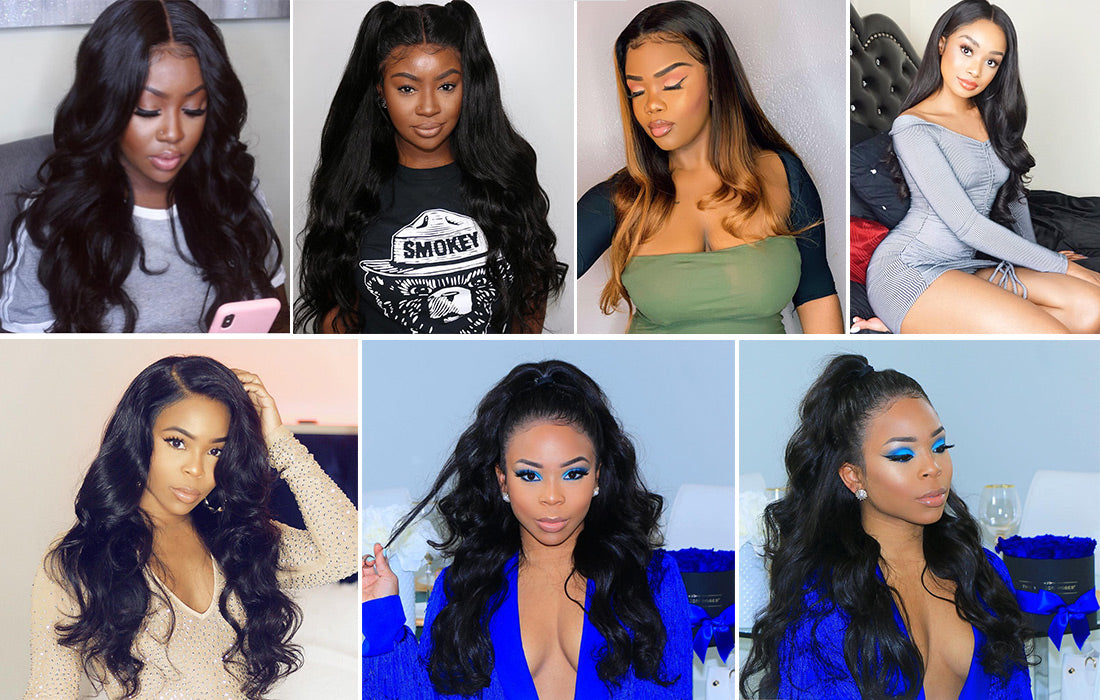 virgin remy body wave 360 lace wigs 150 density customer show in description
