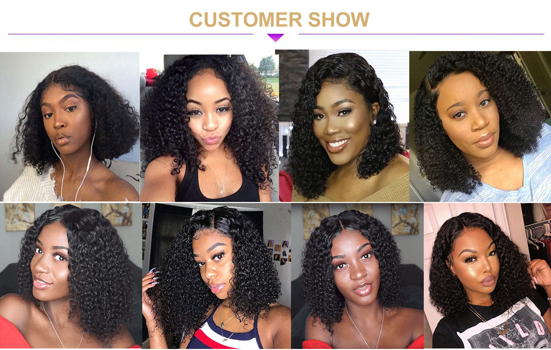 ms curly short bob wigs 150 density customer show in description