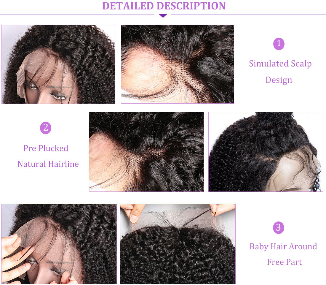 ms kinky curly lace front wigs 150 density hairline show in description