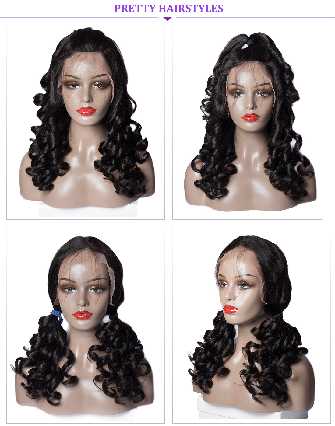ms loose wave lace front wigs 150 density hair style show in description