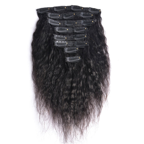 Modern Show Hair Kinky Straight Clip In Human Hair Extension 120g Brazilian Yaki Straight Hair in Clips Full Head