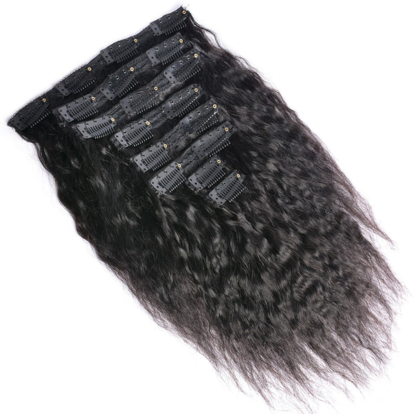 Modern Show Double Weft Clip In Human Hair Extensions Indian Yaki Straight Hair Clip In Extensions 8Pcs/Set