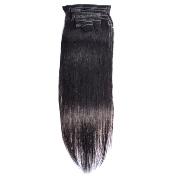 Modern Show 120G Malaysian Hair Machine Made Straight Clip In Hair Extensions Human Hairpieces Full Head Set