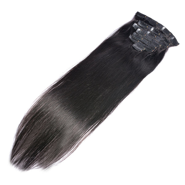 Modern Show 120G Malaysian Hair Machine Made Straight Clip In Hair Extensions Human Hairpieces Full Head Set22 INCH CLIPS