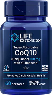 Super-Absorbable CoQ10 (Ubiquinone) with d-Limonene, 100 mg, 60 softgels - HENDRIKS SCIENTIFIC