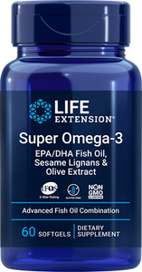 Super Omega-3 EPA-DHA Fish Oil, Sesame Lignans & Olive Extract, 60 softgels - HENDRIKS SCIENTIFIC