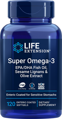 Super Omega-3 EPA-DHA Fish Oil, Sesame Lignans & Olive Extract (Enteric Coated), 120 enteric-coated softgels - HENDRIKS SCIENTIFIC