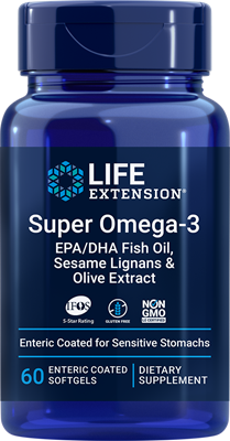 Super Omega-3 EPA-DHA Fish Oil, Sesame Lignans & Olive Extract (Enteric Coated), 60 enteric-coated softgels - HENDRIKS SCIENTIFIC