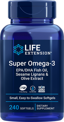 Super Omega-3 EPA-DHA Fish Oil, Sesame Lignans & Olive Extract, 240 easy-to-swallow softgels - HENDRIKS SCIENTIFIC