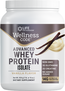 Wellness Code® Advanced Whey Protein Isolate (Vanilla), 454 grams - HENDRIKS SCIENTIFIC