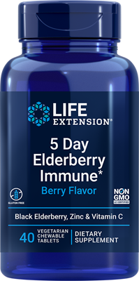 5 Day Elderberry Immune (Berry Flavor) , 40 vegetarian chewable tablets - HENDRIKS SCIENTIFIC