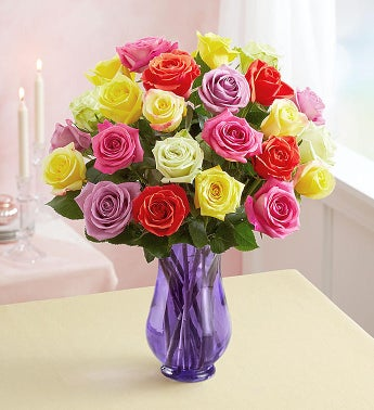 Two Dozen Assorted  Roses with Purple Vase - Hamtown Trading Co.
