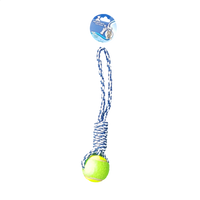 DOG TOY TENNIS BALL ON ROPE ROLL
