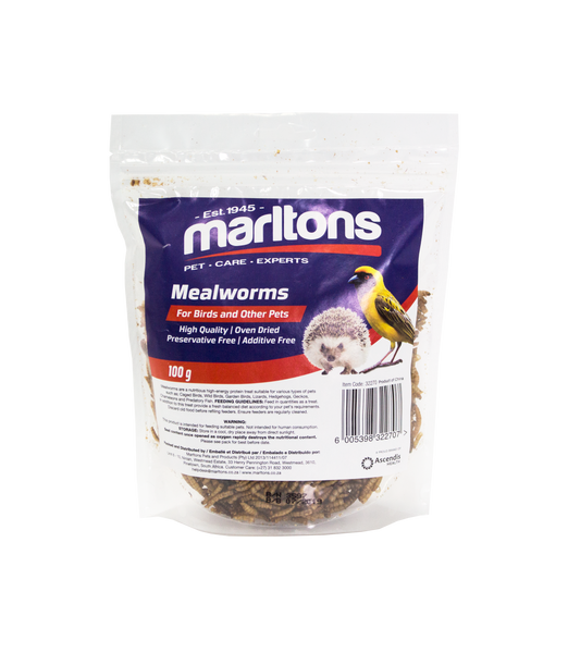 MARLTONS DRIED MEALWORMS 100G