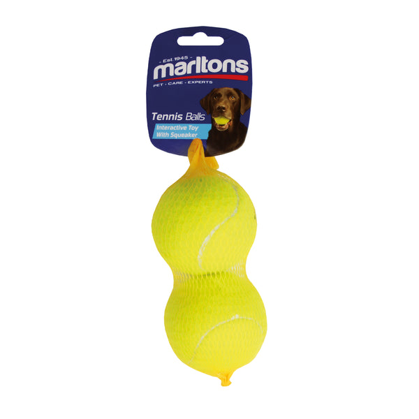 MARLTONS MINI SQUEAKY TENNIS BALLS 2PCS - ONLINE DEAL ONLY