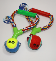 TENNIS BALL TUGGER TOY WITH HANDLE SMILY PET - ONLINE DEAL ONLY
