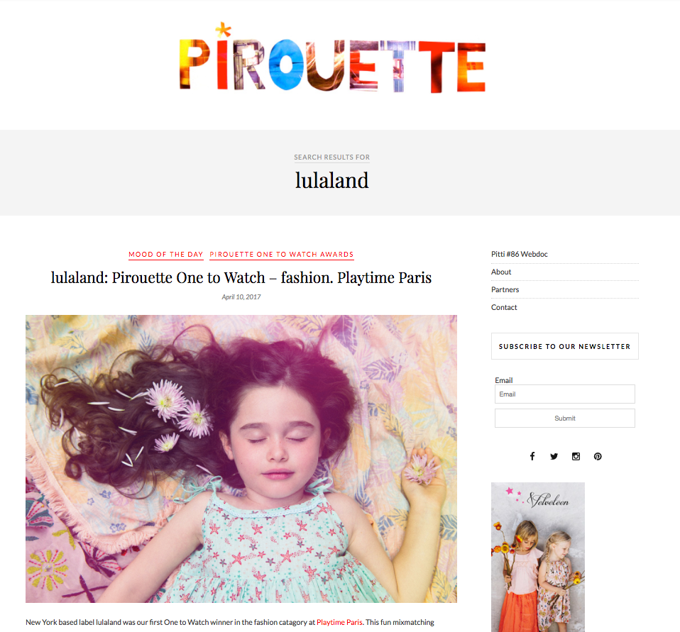 Pirouette- One to Watch AWARD at Playtime Paris- Winner Interview