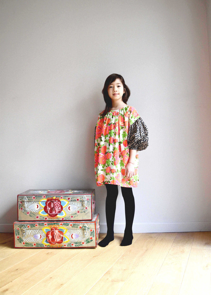 lulaland Fall No.15 Mirage collection. Girl wearing an oversized flower dress