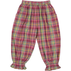 Girls clothes. Bubble pants in lilac plaid flannel