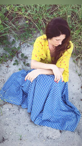 Olivia WOMAN Maxi Skirt Blue Gingham