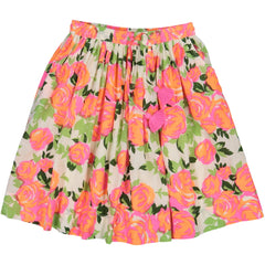 Girl's clothes. Mid length skirt with pink printed flowers