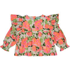 Girl's clothes. Girl blouse with pink flowers print