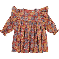 Girls clothes. Party dress in brown colors with leaf print with big ruffles along the sleeves