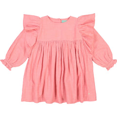 Girls clothes. Pink party dress with big ruffles along the sleeves