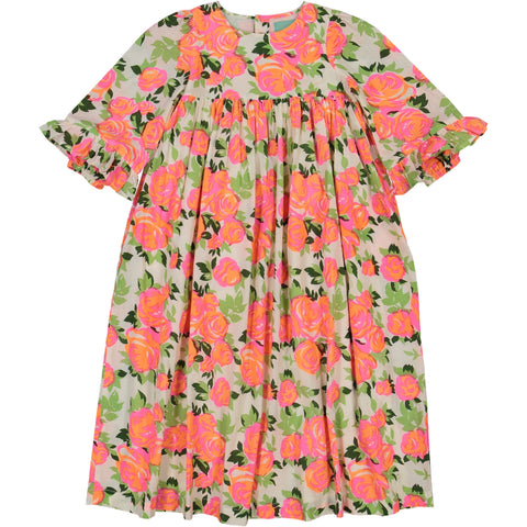 Girl's clothes. Long maxi dress in pink flowers printed fabric