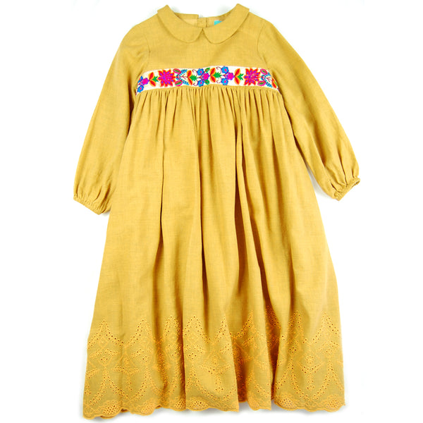 Lupita Dress Melange Corn- Embroidered