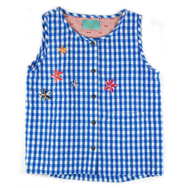 Jeremy Tank Top Blue Gingham with Embroidery