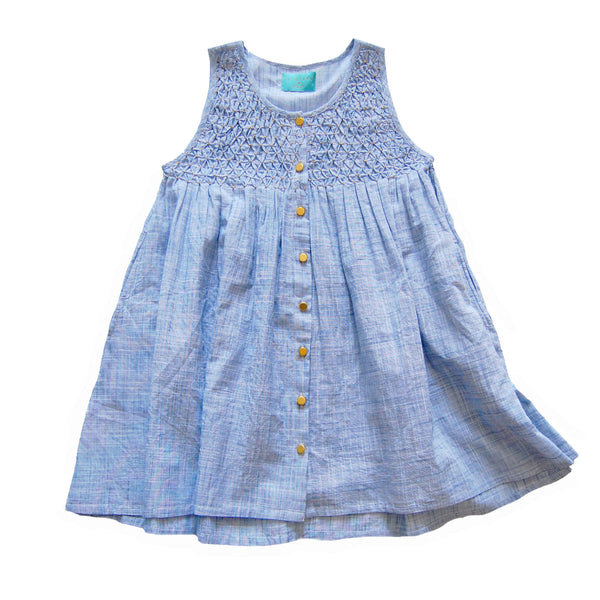 Lulu Dress Ice- Hand smocked