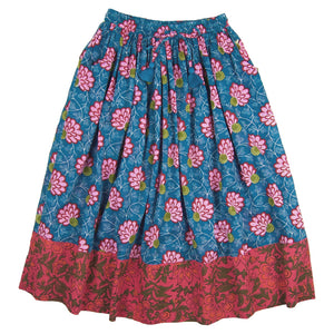 Ana Maxi Skirt Water Lilly/ Red blooms- Organic