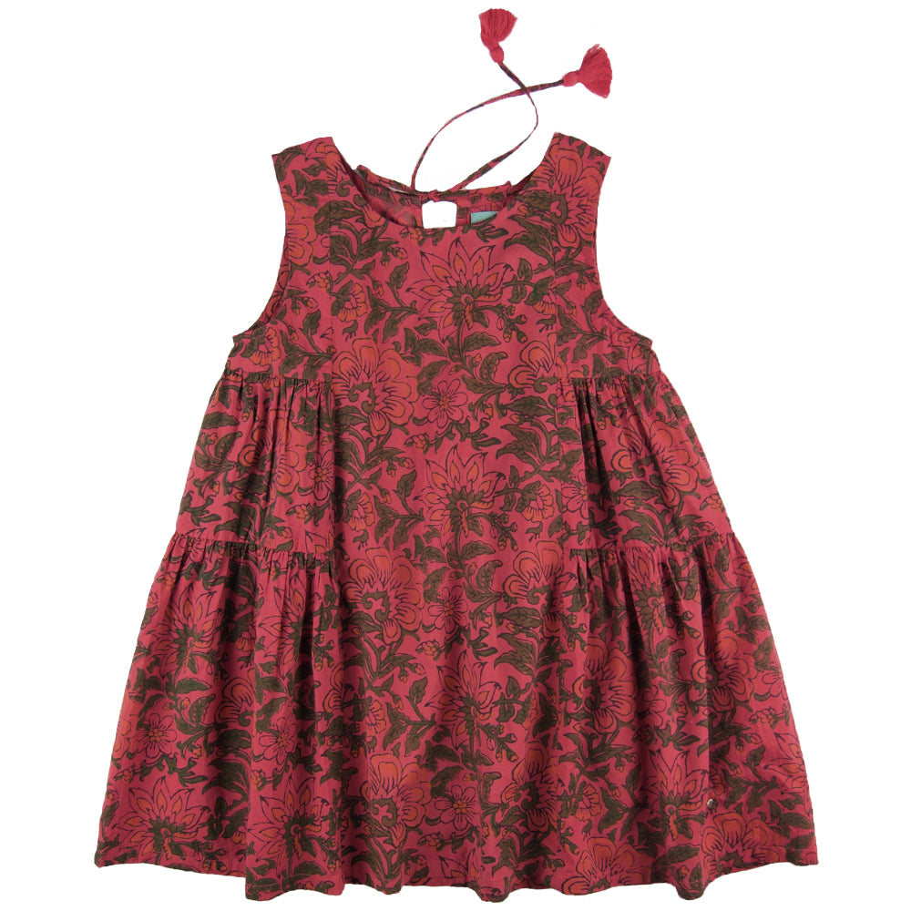 Lena Dress Red Bloom- Organic