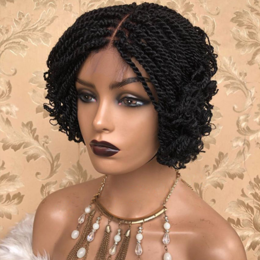100% Hand Made Braided Short Bob Lace Frontal Synthetic Wig