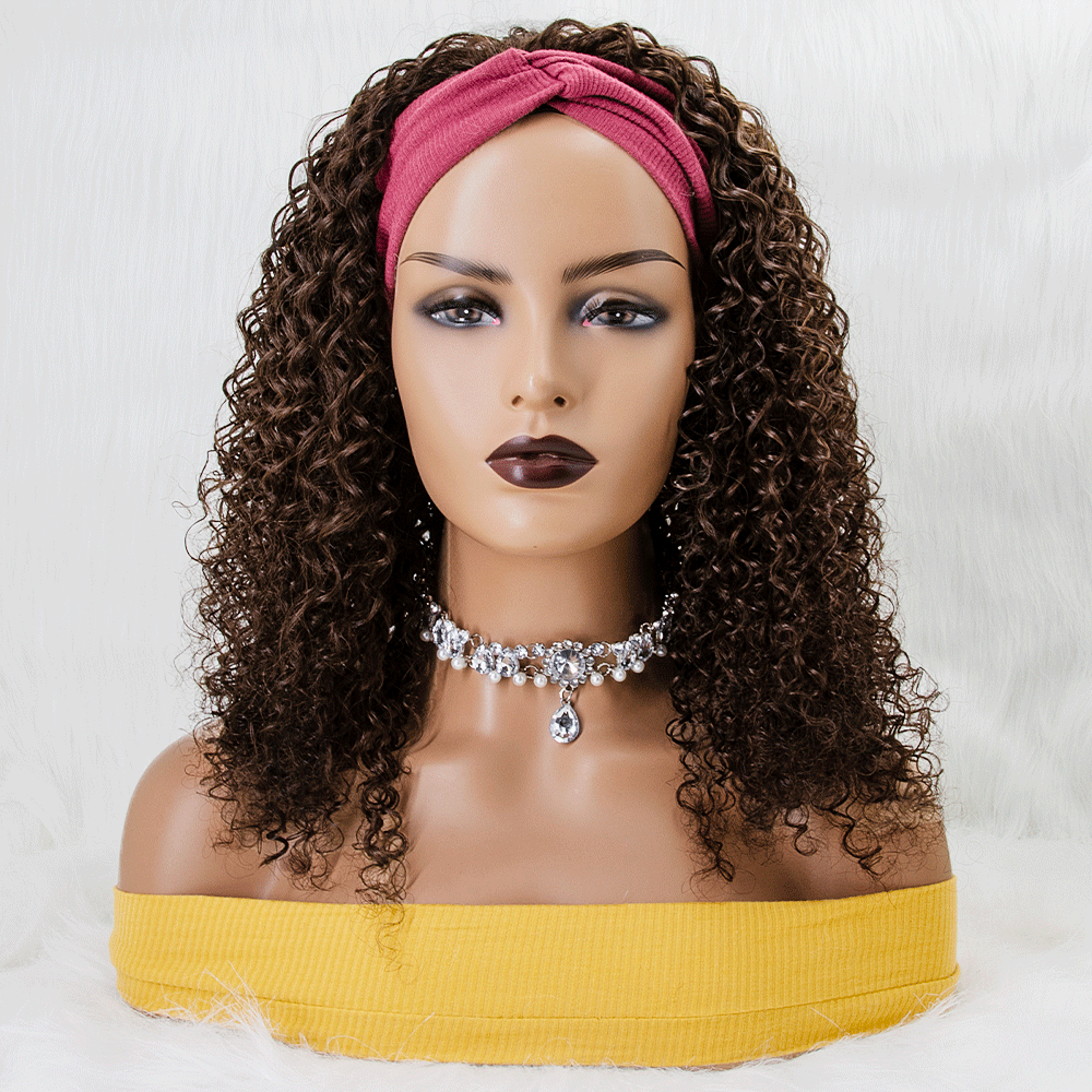 "18"" Dark Brown Curly 100% Virgin Human Hair Grab-N-Go Headband Wigs"